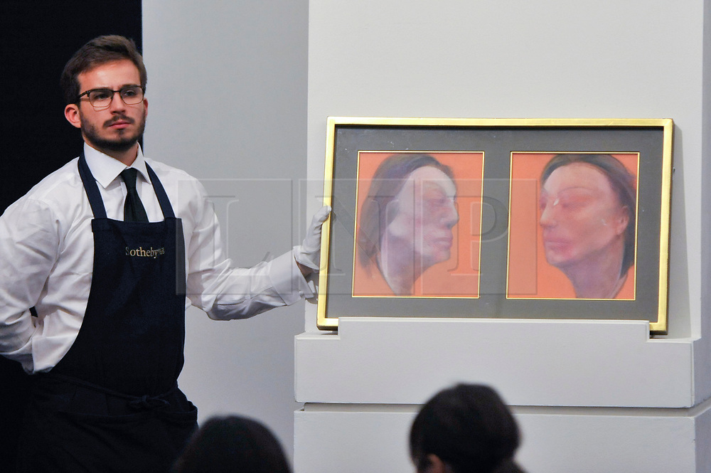 © Licensed to London News Pictures. 05/10/2017. London, UK.  'Studies Of Isabel Rawsthorne', 1983, by Francis Bacon sold for a hammer price of GBP1,650k (Est. GBP1,800-2,500k) at the Italian and Contemporary Art evening auction at Sotheby's, New Bond Street, coinciding with the opening of the London's Frieze Art Fair. Photo credit : Stephen Chung/LNP