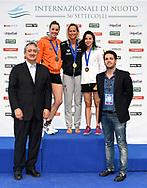 Paolo Barelli <br /> HEEMSKERK Femke NED Netherlands Silver Medal  <br /> PELLEGRINI Federica ITA Italy Gold Medal  <br /> KESELY Ajna HUN Hungary Bronze Medal <br /> Women's 20m Freestyle <br /> Roma 23/06/2019 Stadio del Nuoto Foro Italico <br /> FIN 56 Trofeo Sette Colli 2019 Internazionali d'Italia<br /> Photo Andrea Staccioli/Deepbluemedia/Insidefoto