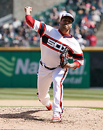 CHICAGO - APRIL 22:  Gregory Infante #45 of the Chicago White Sox pitches against the Houston Astros on April 22, 2018 at Guaranteed Rate Field in Chicago, Illinois.  (Photo by Ron Vesely)   Subject:   Gregory Infante