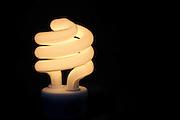 Energy efficient fluorescent light bulb close-up
