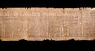 Ancient Egyptian Book of the Dead papyrus - Spell 51 for not walking upside down in gods domain, Iufankh's Book of the Dead, Ptolomaic period (332-30BC).Turin Egyptian Museum.  Black background<br /> <br /> The translation of  Iuefankh's Book of the Dead papyrus by Richard Lepsius marked a truning point in the studies of ancient Egyptian funereal studies. .<br /> <br /> If you prefer to buy from our ALAMY PHOTO LIBRARY  Collection visit : https://www.alamy.com/portfolio/paul-williams-funkystock/ancient-egyptian-art-artefacts.html  . Type -   Turin   - into the LOWER SEARCH WITHIN GALLERY box. Refine search by adding background colour, subject etc<br /> <br /> Visit our ANCIENT WORLD PHOTO COLLECTIONS for more photos to download or buy as wall art prints https://funkystock.photoshelter.com/gallery-collection/Ancient-World-Art-Antiquities-Historic-Sites-Pictures-Images-of/C00006u26yqSkDOM