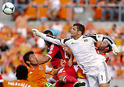 Apr 14, 2013; Houston, TX, USA; Houston Dynamo goalkeeper Tally Hall (1) punches a ball free against the Chicago Fire in the second half at BBVA Compass Stadium. The Dynamo won 2-1. Mandatory Credit: Thomas Campbell-USA TODAY Sports