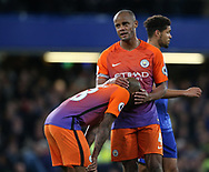 Manchester City's Vincent Kompany looks on dejected at the final whistle during the Premier League match at the Stamford Bridge Stadium, London. Picture date: April 5th, 2017. Pic credit should read: David Klein/Sportimage