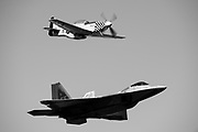 Thunder over Georgia Airshow. F22 Demo Team and P51 Mustang Bum Steer