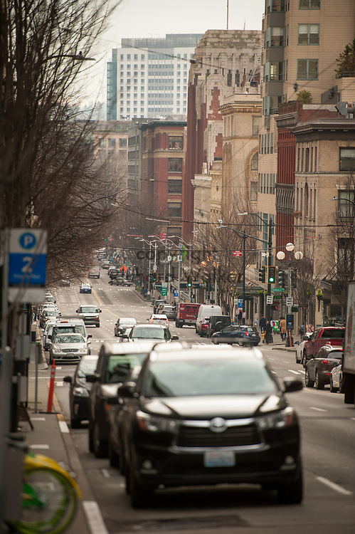 2017 DECEMBER 12 - View of 1st Ave looking south from Union Street, Seattle, WA, USA. By Richard Walker