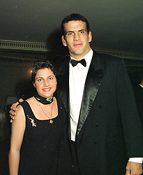 MARTIN JOHNSON captain of the victorious 1997 British Lions rugby tour of South Africa and his girlfriend MISS KAY GREDIG, at a dinner in London on 29th October 1997.MCP 35