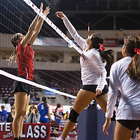 Pine Hill's Jiovanni Pino (16) hits the ball past Quemado's Siera Green Friday morning at the Santa Ana Star Center in the NMAA Class 1A State Volleyball tournament in Rio Rancho.