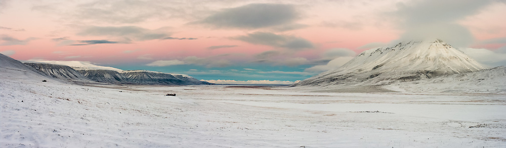 Early morning in Adventdalen on Svalbard.