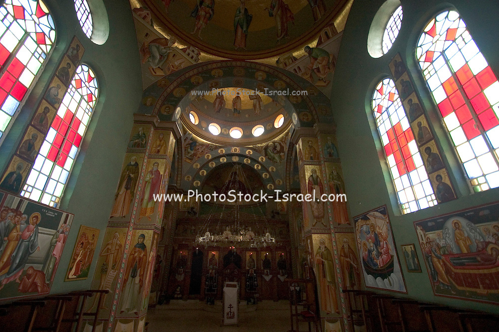 Israel Capernahum sea of galilee, interior of the Greek Orthodox Church of the Twelve Apostles