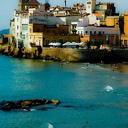 coastline and beach in Sitges Spain,
