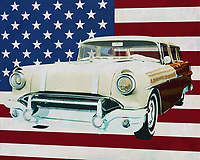Pontiac had understood the American market well when they released the Pontiac Safari Station Wagon in the 1950s. Many families wanted a large car to take the whole family on the road. They had plenty of room in a Pontiac Station Wagon and the popularity of Pontiac was enormous.<br /> <br /> This painting of the Pontiac Safari Station , built in 1956, with the American flag in the background, can be purchased in various sizes and printed on canvas as well as wood and metal. You can also have the painting finished with an acrylic plate over it which gives more depth. -<br /> -<br /> BUY THIS PRINT AT<br /> <br /> FINE ART AMERICA<br /> ENGLISH<br /> https://janke.pixels.com/featured/pontiac-safari-station-wagon-1956-with-flag-of-the-usa-jan-keteleer.html<br /> <br /> <br /> WADM / OH MY PRINTS<br /> DUTCH / FRENCH / GERMAN<br /> https://www.werkaandemuur.nl/nl/shopwerk/Pontiac-Safari-Station-Wagon-1956-met-vlag-van-de-V-S-/665487/132?mediumId=1