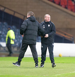 Airdrie's manager Mark Wilson and Queen's Park manager Gus McPherson at the end. Queen's Park 2 v 1 Airdrie, Scottish Football League Division One game played 7/1/2017 at Hampden.