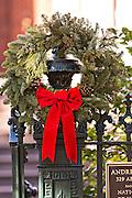 Christmas wreath historic home Savannah, GA.