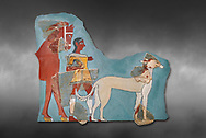 Mycenaean Fresco wall painting of a Mycanaean footman leading a horse & hunting dog,  Tiryns, Greece. 14th - 13th Century BC. Athens Archaeological Museum. Cat No 5878.  Grey art Background .<br /> <br /> If you prefer to buy from our ALAMY PHOTO LIBRARY  Collection visit : https://www.alamy.com/portfolio/paul-williams-funkystock/mycenaean-art-artefacts.html . Type -   Athens    - into the LOWER SEARCH WITHIN GALLERY box. Refine search by adding background colour, place, museum etc<br /> <br /> Visit our MYCENAEN ART PHOTO COLLECTIONS for more photos to download  as wall art prints https://funkystock.photoshelter.com/gallery-collection/Pictures-Images-of-Ancient-Mycenaean-Art-Artefacts-Archaeology-Sites/C0000xRC5WLQcbhQ