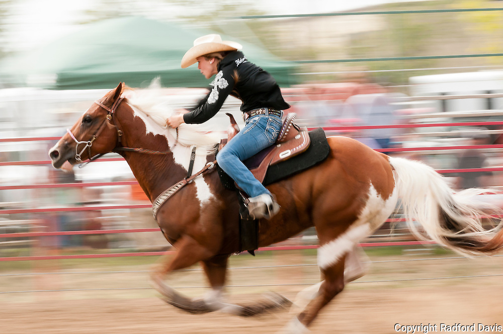 Barrel racing is a big event for the women. The speed is incredible, and so are the riders and their horses.