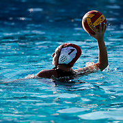11/3/16 9:02:09 AM -- Orange Empire Conference Water Polo Championships. Santa Ana goalie Victoria Lopez (1) looks to throw the ball to her teammates in their game against Golden West College. --Saddleback College, Mission Viejo, Ca<br /> <br /> Photo by Joe Bergman / Sports Shooter Academy