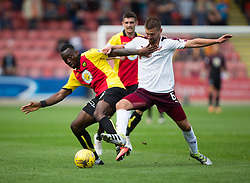 Partick Thistle's Adebayo Azeez and Hearts Perry Kitchen. Partick Thistle 1 v 2 Hearts, Ladbrokes Premiership match played 27/89/2016 at Firhill.