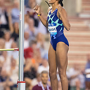 BRUSSELS, BELGIUM:  September 3:   Nafissatou Thiam of Belgium, the olympic heptathlon gold medal winner in Tokyo, reacts to a clearance during the high jump for women competition during the Wanda Diamond League 2021 Memorial Van Damme Athletics competition at King Baudouin Stadium on September 3, 2021 in  Brussels, Belgium. (Photo by Tim Clayton/Corbis via Getty Images)