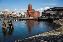 Cardiff, UK. 2nd May, 2017. A view across Cardiff Docks towards the Grade I-listed French Gothic Renaissance Pierhead building on Cardiff Bay. It was built in 1897 by architect William Frame as the headquarters for the Bute Dock Company and its clock tower is known locally as 'Baby Big Ben'.