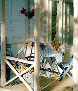 View of a porch, with chairs and a table, Helsinki, Finland
