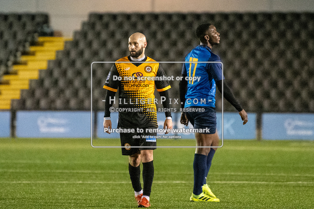 BROMLEY, UK - JANUARY 04: Karl Dent, of Cray Wanderers FC, after the BetVictor Isthmian Premier League match between Cray Wanderers and Wingate & Finchley at Hayes Lane on January 4, 2020 in Bromley, UK. <br /> (Photo: Jon Hilliger)