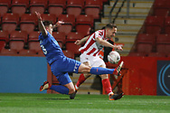Sam Magri and Chris Hussey<br />  during the The FA Cup 1st round replay match between Cheltenham Town and Ebbsfleet at LCI Rail Stadium, Cheltenham, England on 20 November 2018.