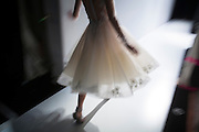 TORONTO, ON - MARCH 14: A model walks to the runway from backstage during the Narces show at Toronto Fashion Week in Toronto, Ontario. Toronto Star/Todd Korol