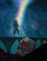 Astronaut hanging on by a rainbow exploring death.