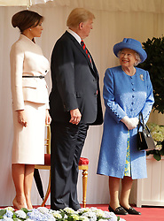 Queen Elizabeth II, US President Donald Trump and first lady Melania Trump during a ceremonial welcome at Windsor Castle, Windsor.