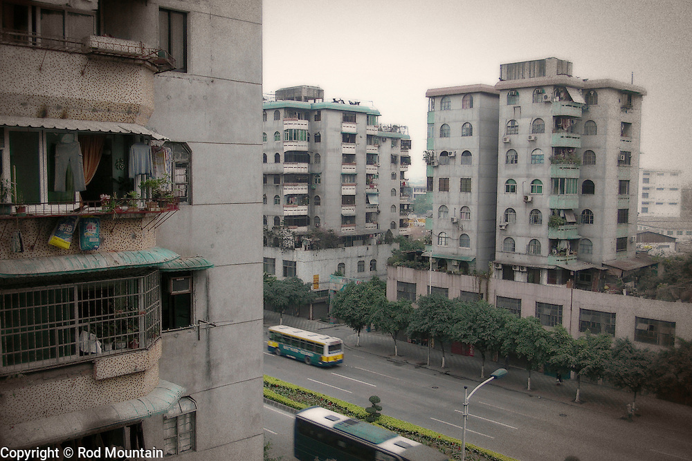 Looking down to the street from an apartment dwelling in Guangzhou, China.