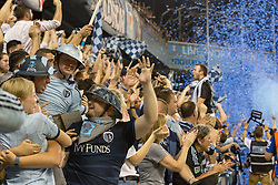 September 20, 2017 - Kansas City, Kansas, U.S - Sporting KC fans celebrate the first goal won by Sporting KC during the U.S. Open Cup Championship game. Forward Latif Blessing #9 scored at 24:58 time. Sporting KC will win the 2017 Lamar Hunt Open Cup championship with a score of 2-1 over the New York Red Bulls. (Credit Image: © Serena S.Y. Hsu via ZUMA Wire)