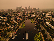 The air above Los Angeles turned copper colored due to wildfires burning in the region. LA went from having the world's cleanest to unhealthiest this year. Echo Park Lake, Los Angeles. 9/10/2020