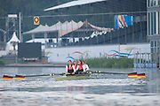 Amsterdam. NETHERLANDS. GER W4- moving away from the boating pontoon for an early training session at the 2014 FISA  World Rowing. Championships.  De Bosbaan Rowing Course . 07:19:40  Thursday  21/08/2014  [Mandatory Credit; Peter Spurrier/Intersport-images]