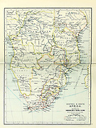 Ancient map of central and South Africa (1895) showing communications and mission stations from the book 'The Castle Line atlas of South Africa' : a series of 16 plates, printed in colour, containing 30 maps and diagrams, with an account of the geographical features , the climate, the mineral and other resources, and the history of South Africa. And an index of over 6,000 names