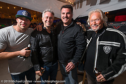 Arlen Ness (R) with his Grandson Zach (L), son Cory (2nd from L) and Steve Menneto, the President of Motorcycles at Polaris Industries at Victory Motorcycles Party at the Main Street Station bar on Main Street during the Daytona Bike Week 75th Anniversary event. FL, USA. Saturday March 5, 2016.  Photography ©2016 Michael Lichter.