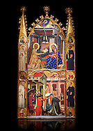 Gothic painted Panel Altarpiece of the Annunciation and Three Kings of the Epiphany by the Circle of Ferrer and Arnau Bassa. Tempera and gold leaf on wood. Circa 1347-1360. 282.9 x 151 x 11 cm. The origin of this panel has traditionally been associated with the collegiate church of Sant Vicenç de Cardona (Bages). National Museum of Catalan Art, Barcelona, Spain, inv no: 015855-000 .<br /> <br /> If you prefer you can also buy from our ALAMY PHOTO LIBRARY  Collection visit : https://www.alamy.com/portfolio/paul-williams-funkystock/gothic-art-antiquities.html  Type -     MANAC    - into the LOWER SEARCH WITHIN GALLERY box. Refine search by adding background colour, place, museum etc<br /> <br /> Visit our MEDIEVAL GOTHIC ART PHOTO COLLECTIONS for more   photos  to download or buy as prints https://funkystock.photoshelter.com/gallery-collection/Medieval-Gothic-Art-Antiquities-Historic-Sites-Pictures-Images-of/C0000gZ8POl_DCqE