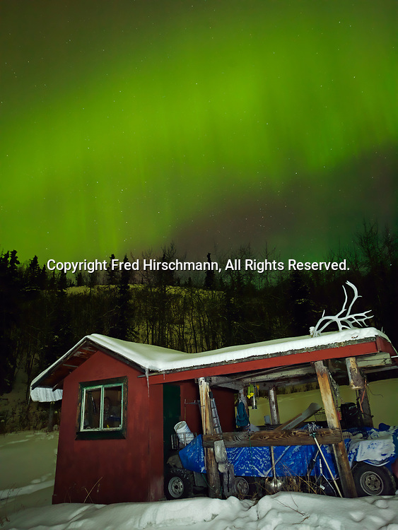 Green and red auroras over Tom and Kathie Jordan's shed during St. Patrick's Day Geomagnetic Storm, early morning hours of March 17, 2015, Glacier View, Alaska.