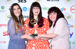 Manon Lagrève (left), Kim-Joy Hewlett, and Briony Williams with the award for Best Food Programme at the TRIC Awards 2019 50th Birthday Celebration held at the Grosvenor House Hotel, London.
