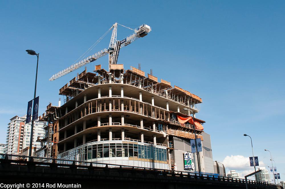 A new highrise development under construction near BC Place Stadium.