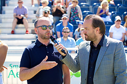LIVERPOOL, ENGLAND - Sunday, June 24, 2018: Chris Woods, Marketing manager Williams BMW speaks with Radio City DJ Simon Greening during day four of the Williams BMW Liverpool International Tennis Tournament 2018 at Aigburth Cricket Club. (Pic by Paul Greenwood/Propaganda)