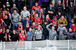 Supporters of Jesenice during ice hockey game between Team Jesenice and HDD Telemach Olimpija in 1st leg of Finals of Slovenian National Championship 2014, on March 31, 2014 in Arena Podmezakla, Jesenice, Slovenia. Photo by Vid Ponikvar / Sportida