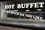 Eat as much as you like hot buffet at a Chinese restaurant in Chinatown in London, England, United Kingdom. Many people eat bargain food responsibly and it provides great value for consumers, however concerns over obesity levels in the UK remain, especially with foods containing high levels of fat and sugar. Obesity is a medical condition in which excess body fat has accumulated to the extent that it may have a negative effect on health.