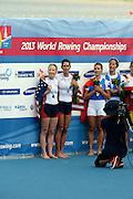 Chungju, South Korea.  Lightweight women's double sculls medals, Middle Gold medalist.  ITA LW2X. Bow. Laura MILANI and Elisabetta SANCASSANI, left Silver medalist, USALW2X. Kristin HEDSTROM and  Kathleen BERTKO. right Bronze medalist. GER LW2X.  Lena MUELLER and Anja NOSKE. 2013 FISA World Rowing Championships, Tangeum Lake International Regatta Course.16:17:09  Saturday  31/08/2013 [Mandatory Credit. Peter Spurrier/Intersport Images]