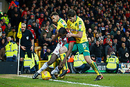 Sheffield United's Clayton Donaldson fights with Norwich City's Timm Klose during the EFL Sky Bet Championship match between Norwich City and Sheffield Utd at Carrow Road, Norwich, England on 20 January 2018. Photo by John Marsh.