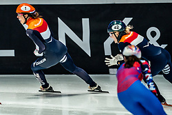 Suzanne Schulting of Netherlands win and Xandra Velzeboer of Netherlands bronze on the 1500 meter during ISU World Short Track speed skating Championships on March 06, 2021 in Dordrecht
