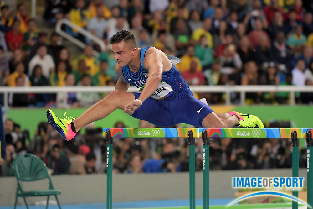 Aug 15, 2016; Rio de Janeiro, Brazil; Devon Allen (USA) places second in 110m hurdles heat in 13.41 at Estadio Olimpico Joao Havelange in the Rio 2016 Summer Olympic Games.