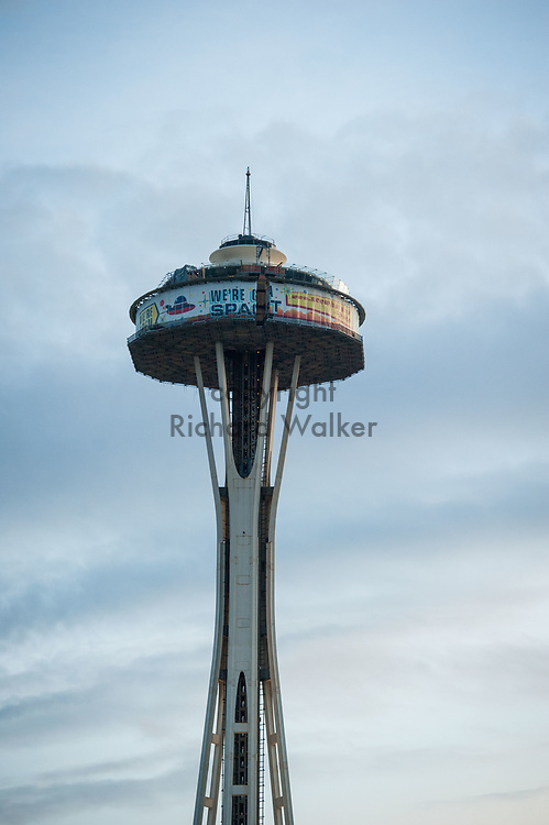 2018 APRIL 30 - The Space Needle with scaffolding during renovation, Seattle, WA, USA. By Richard Walker