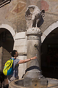 Frescoes and tourist taking fresh drinking water fountain in Piazza Duomo, Trento. In the mountain region of south Tyrol and the Dolomites, fountains in villages and cities offer clean drinking water. The visitor fills her bottle with the water as it trickles down from its spout at the feet of an eagle. The oldest centre of Trento offers interesting architecture with a unique feel of both Italian Renaissance and Germanic influences including frescoes seen at the top.