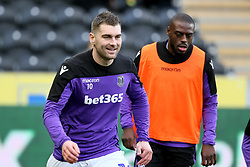 Stoke City's Sam Vokes warms up ahead of the match