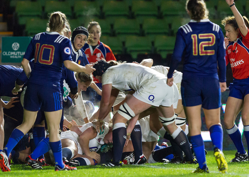 Amy Cokayne touches the ball down to score a try, England Women v France Women in an Old Mutual Wealth Series, Autumn International match at Twickenham Stoop, Twickenham, England, on 9th November 2016. Full Time score 10-5